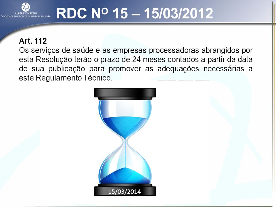 RDC NO 15 – 15/03/2012 Art. 112.