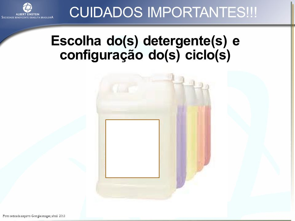 Escolha do(s) detergente(s) e configuração do(s) ciclo(s)