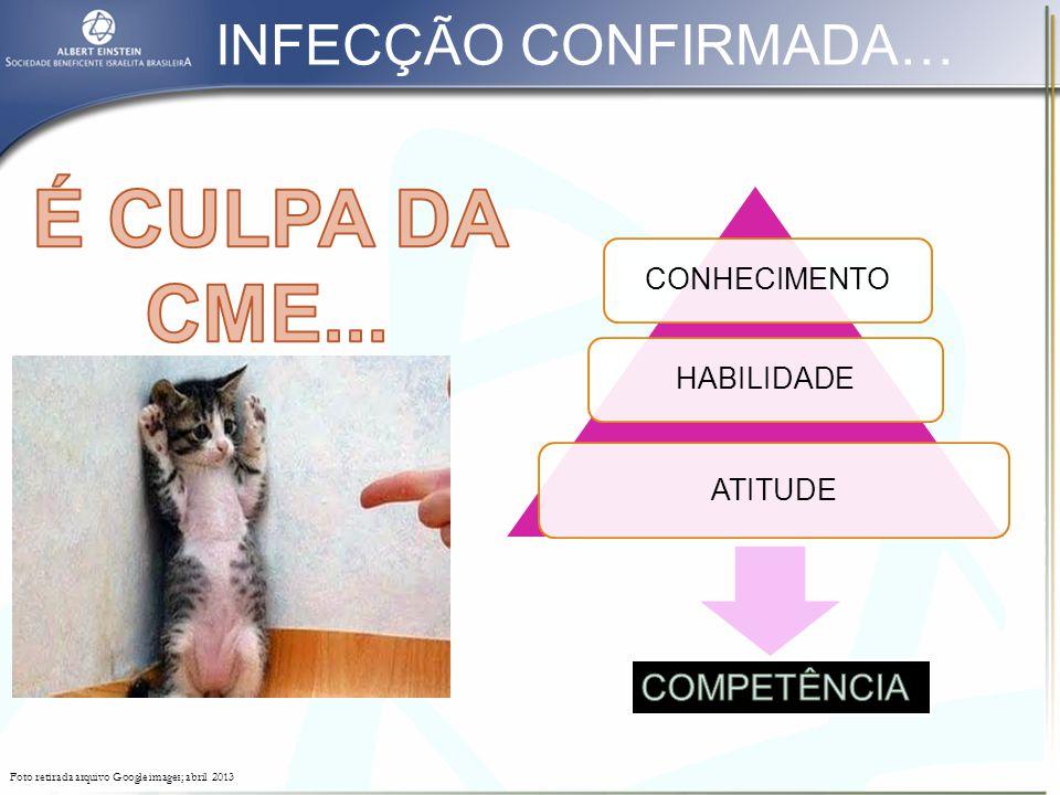 É CULPA DA CME... INFECÇÃO CONFIRMADA… COMPETÊNCIA CONHECIMENTO