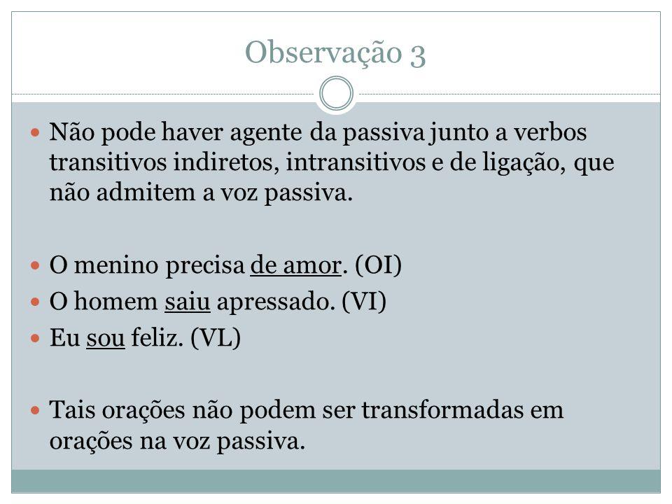 Observação 3 Não pode haver agente da passiva junto a verbos transitivos indiretos, intransitivos e de ligação, que não admitem a voz passiva.