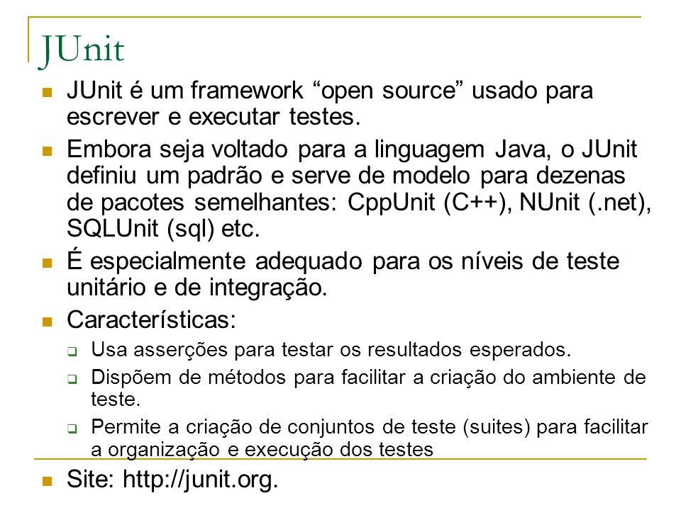 JUnit JUnit é um framework open source usado para escrever e executar testes.