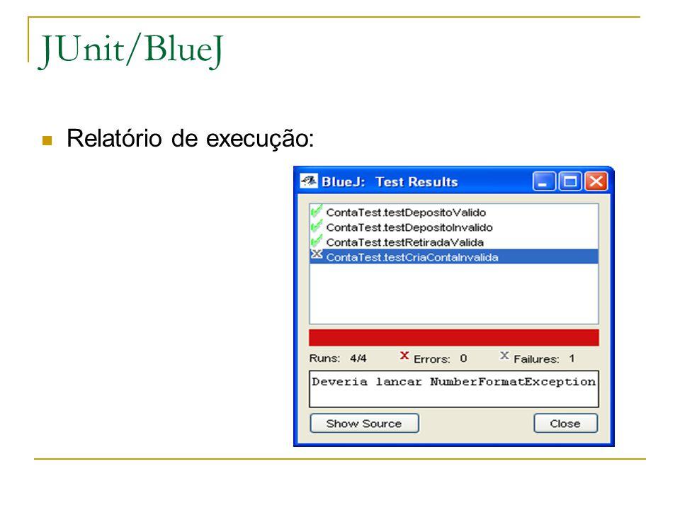 JUnit/BlueJ Relatório de execução: