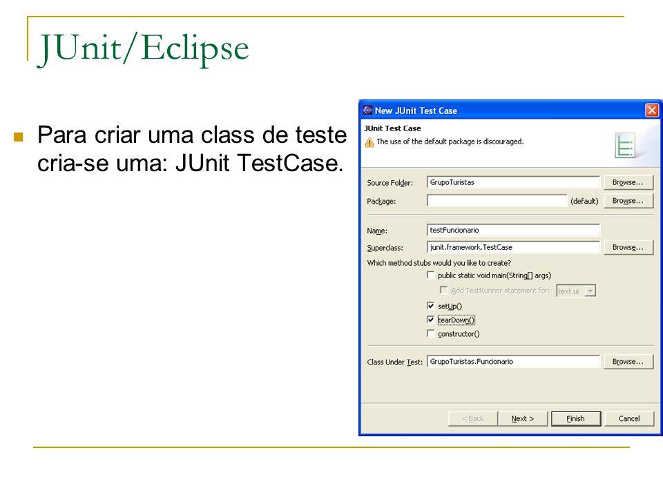 JUnit/Eclipse Para criar uma class de teste cria-se uma: JUnit TestCase.