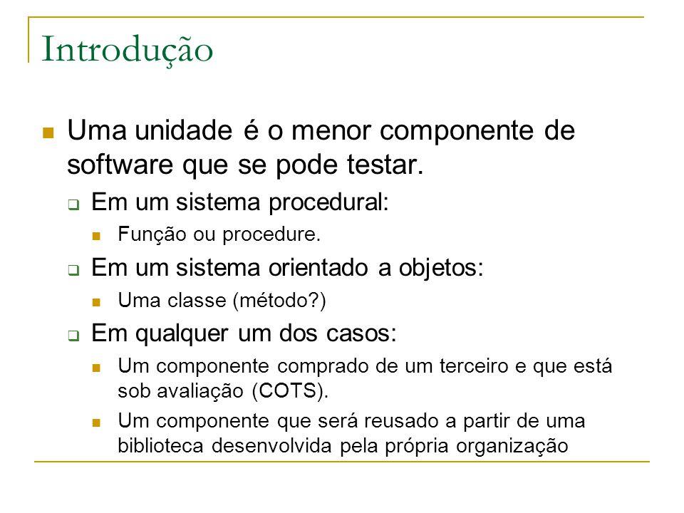 Introdução Uma unidade é o menor componente de software que se pode testar. Em um sistema procedural: