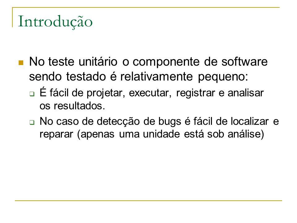 Introdução No teste unitário o componente de software sendo testado é relativamente pequeno: