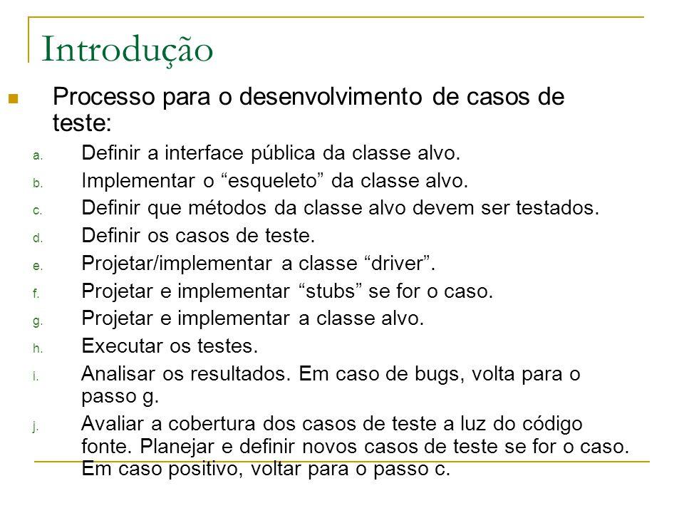 Introdução Processo para o desenvolvimento de casos de teste: