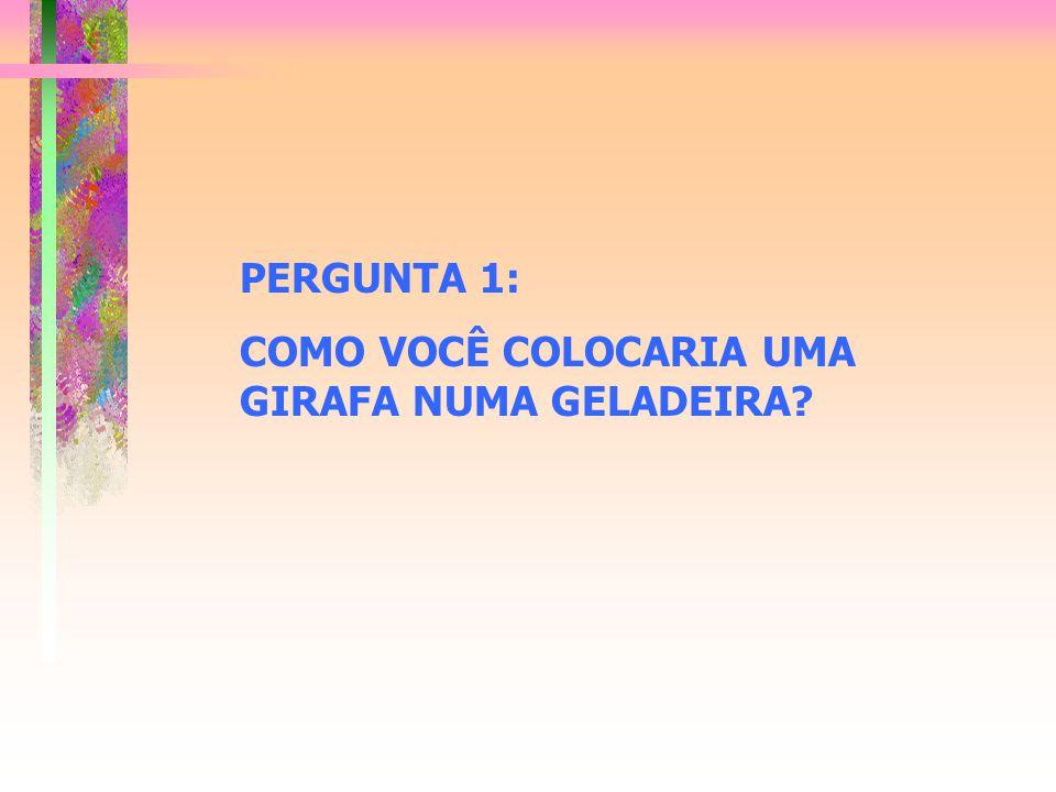 PERGUNTA 1: COMO VOCÊ COLOCARIA UMA GIRAFA NUMA GELADEIRA