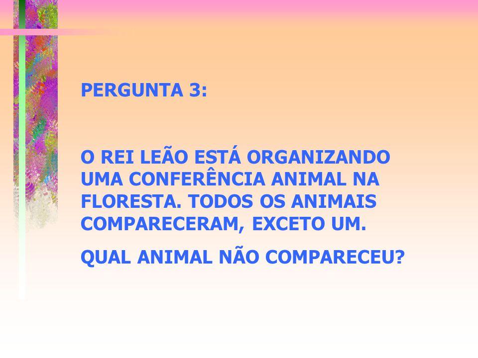 PERGUNTA 3: O REI LEÃO ESTÁ ORGANIZANDO UMA CONFERÊNCIA ANIMAL NA FLORESTA. TODOS OS ANIMAIS COMPARECERAM, EXCETO UM.