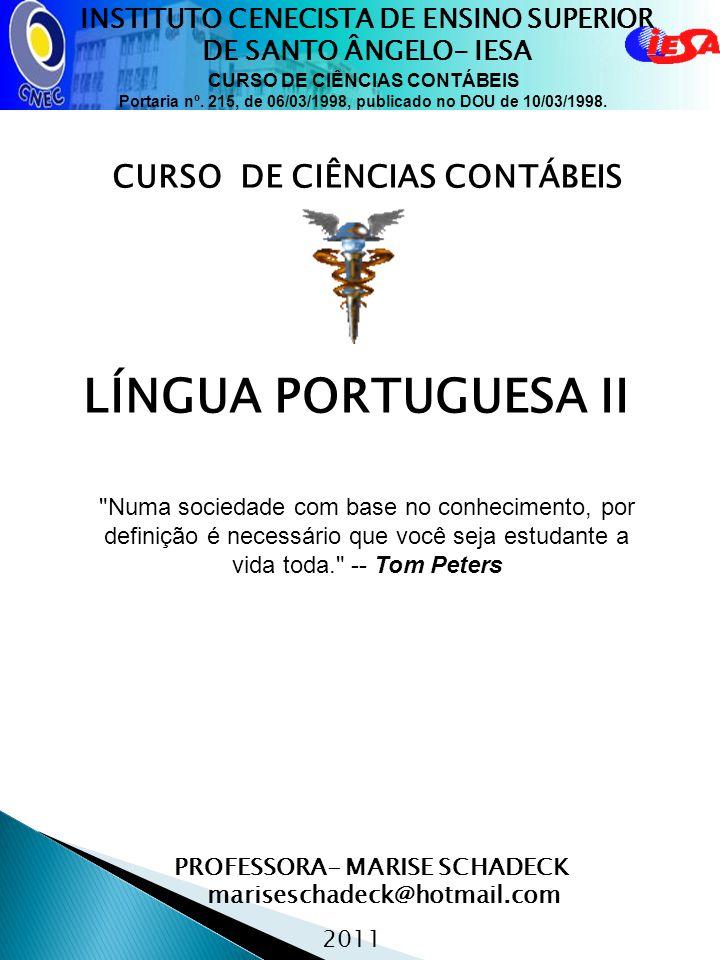 LÍNGUA PORTUGUESA II CURSO DE CIÊNCIAS CONTÁBEIS
