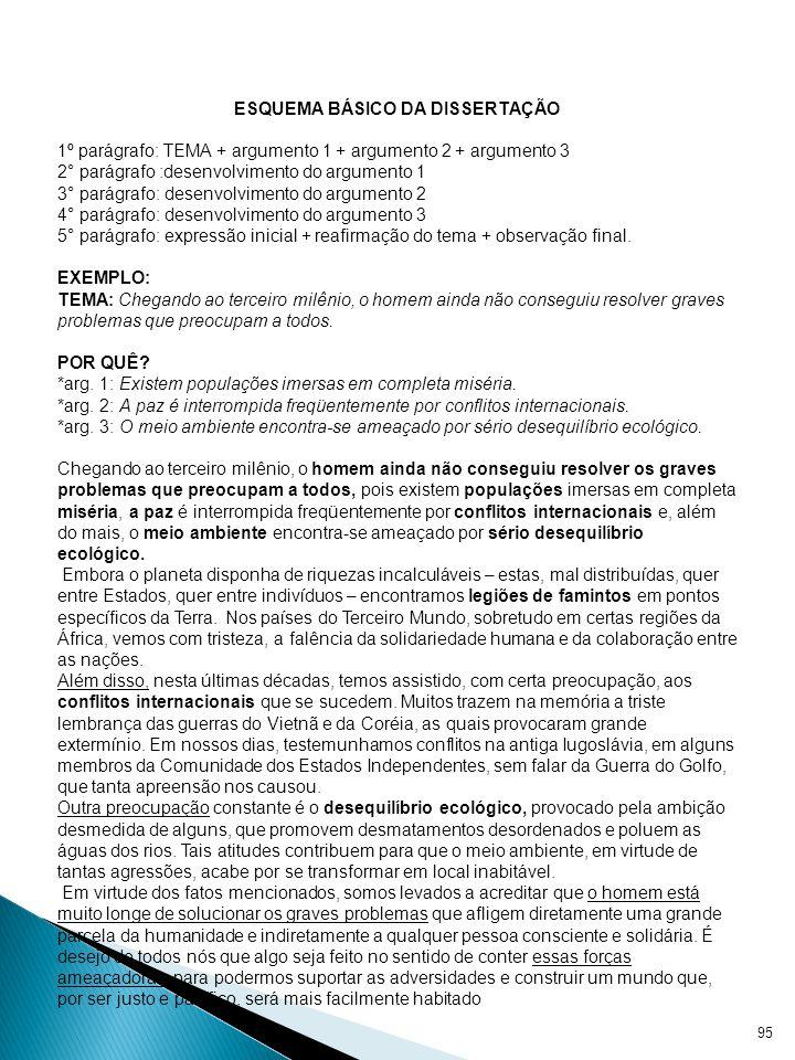 SUGESTÃO DE PRODUÇÃO DE TEXTO COM BASE EM ESQUEMAS ESQUEMA BÁSICO DA DISSERTAÇÃO