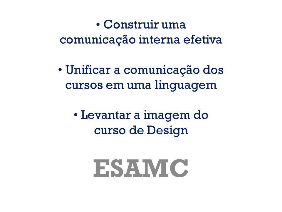 • Construir uma comunicação interna efetiva • Unificar a comunicação dos cursos em uma linguagem • Levantar a imagem do curso de Design