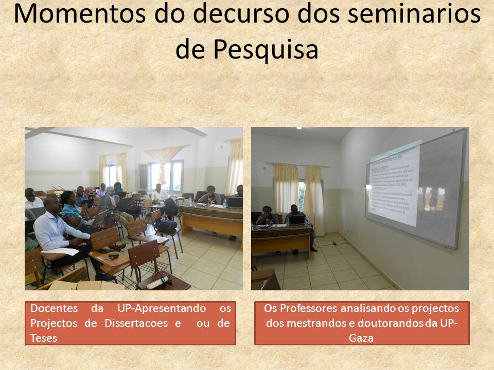 Momentos do decurso dos seminarios de Pesquisa
