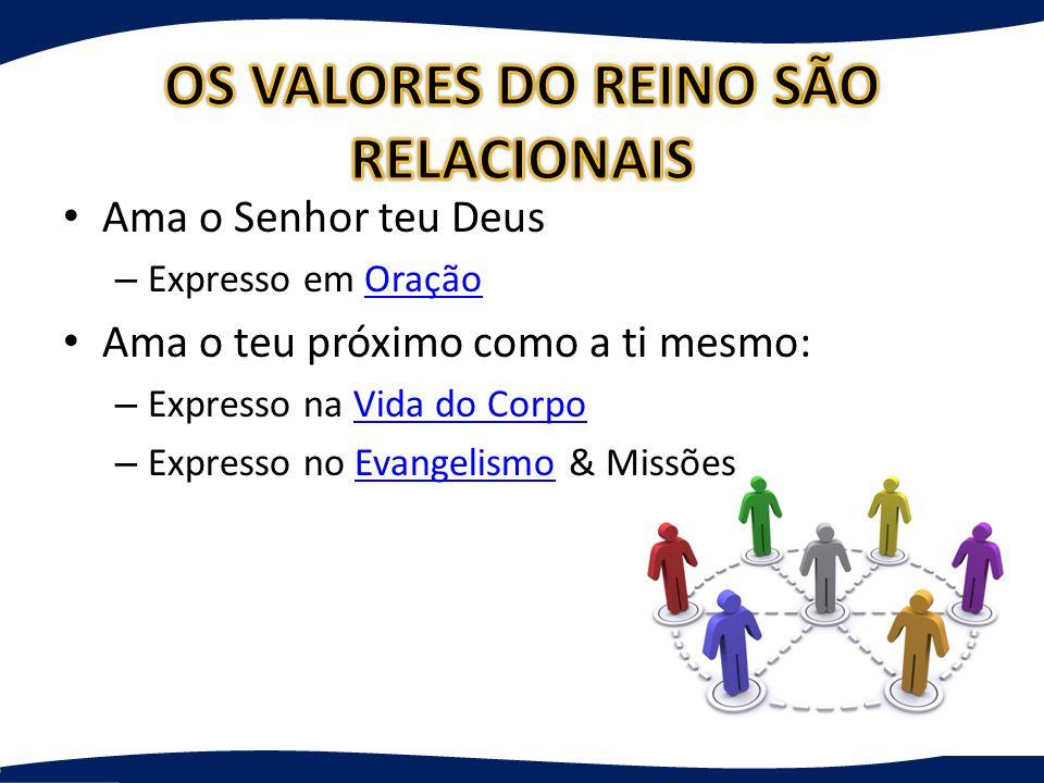 OS VALORES DO REINO SÃO RELACIONAIS