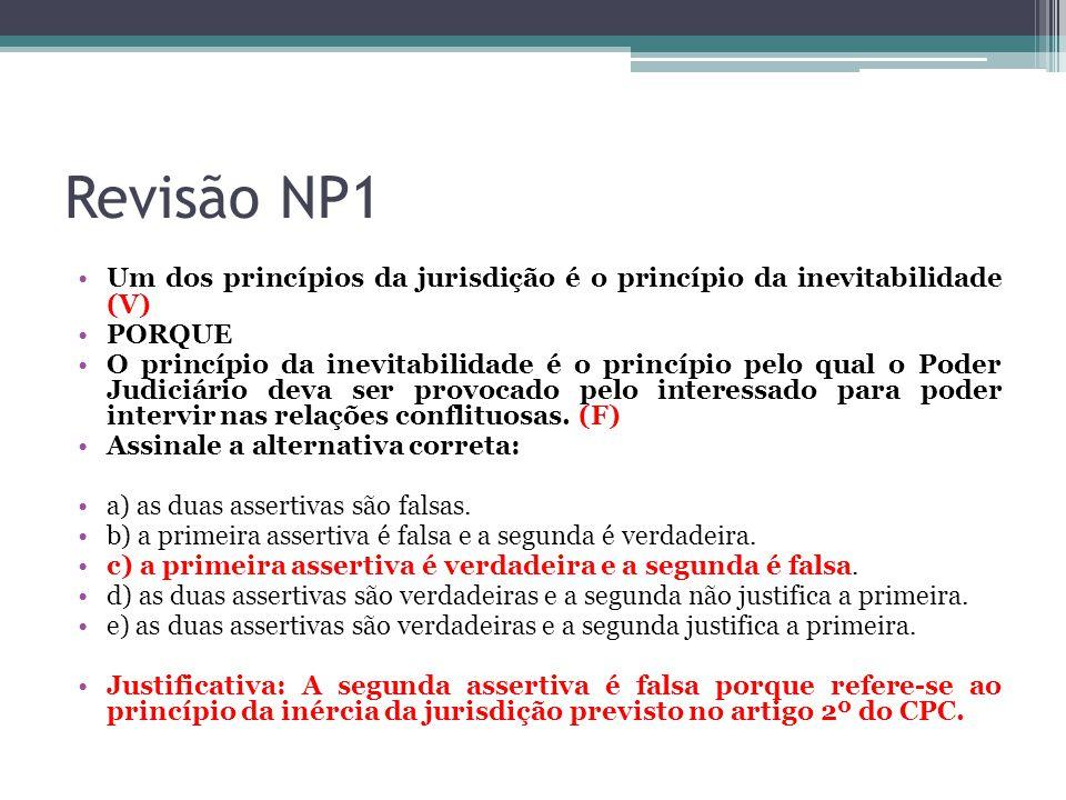 Revisão NP1 Um dos princípios da jurisdição é o princípio da inevitabilidade (V) PORQUE.