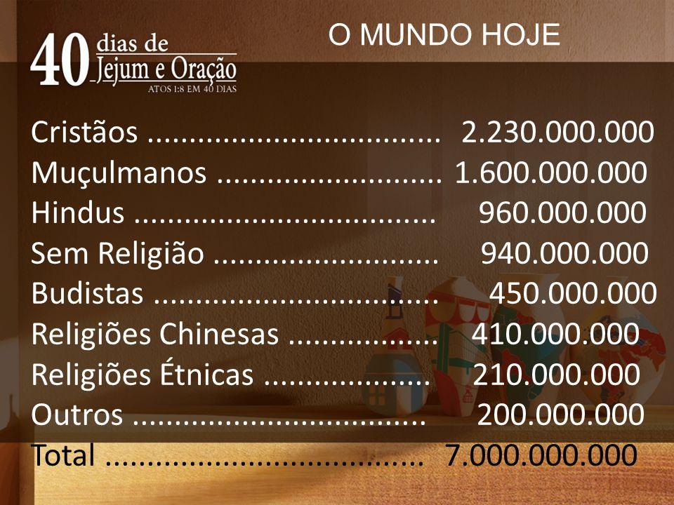 O MUNDO HOJE Cristãos ................................... 2.230.000.000. Muçulmanos ........................... 1.600.000.000.