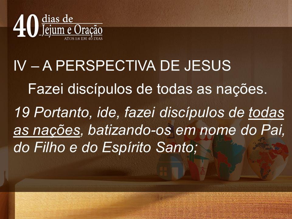 IV – A PERSPECTIVA DE JESUS