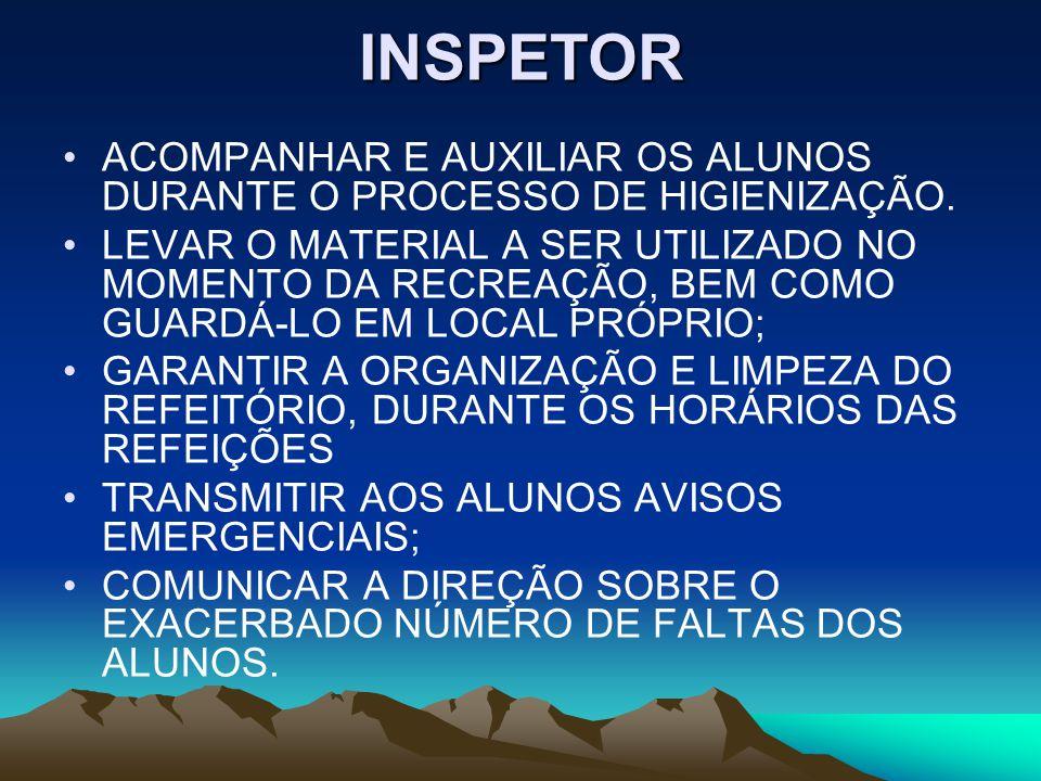 INSPETOR ACOMPANHAR E AUXILIAR OS ALUNOS DURANTE O PROCESSO DE HIGIENIZAÇÃO.