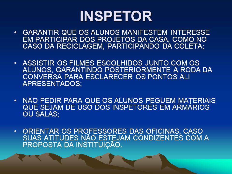 INSPETOR GARANTIR QUE OS ALUNOS MANIFESTEM INTERESSE EM PARTICIPAR DOS PROJETOS DA CASA, COMO NO CASO DA RECICLAGEM, PARTICIPANDO DA COLETA;