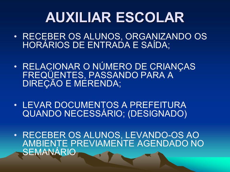 AUXILIAR ESCOLAR RECEBER OS ALUNOS, ORGANIZANDO OS HORÁRIOS DE ENTRADA E SAÍDA;