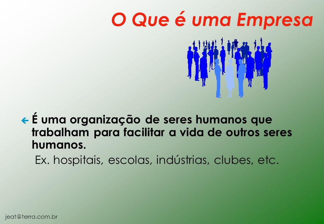 O Que é uma Empresa É uma organização de seres humanos que trabalham para facilitar a vida de outros seres humanos.