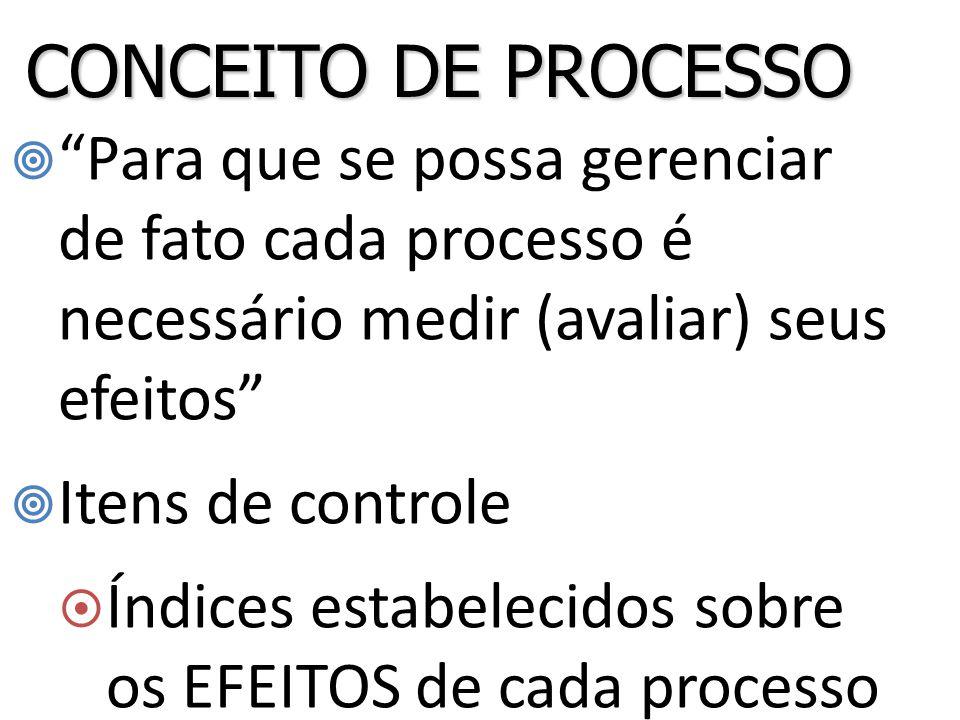 CONCEITO DE PROCESSO Para que se possa gerenciar de fato cada processo é necessário medir (avaliar) seus efeitos