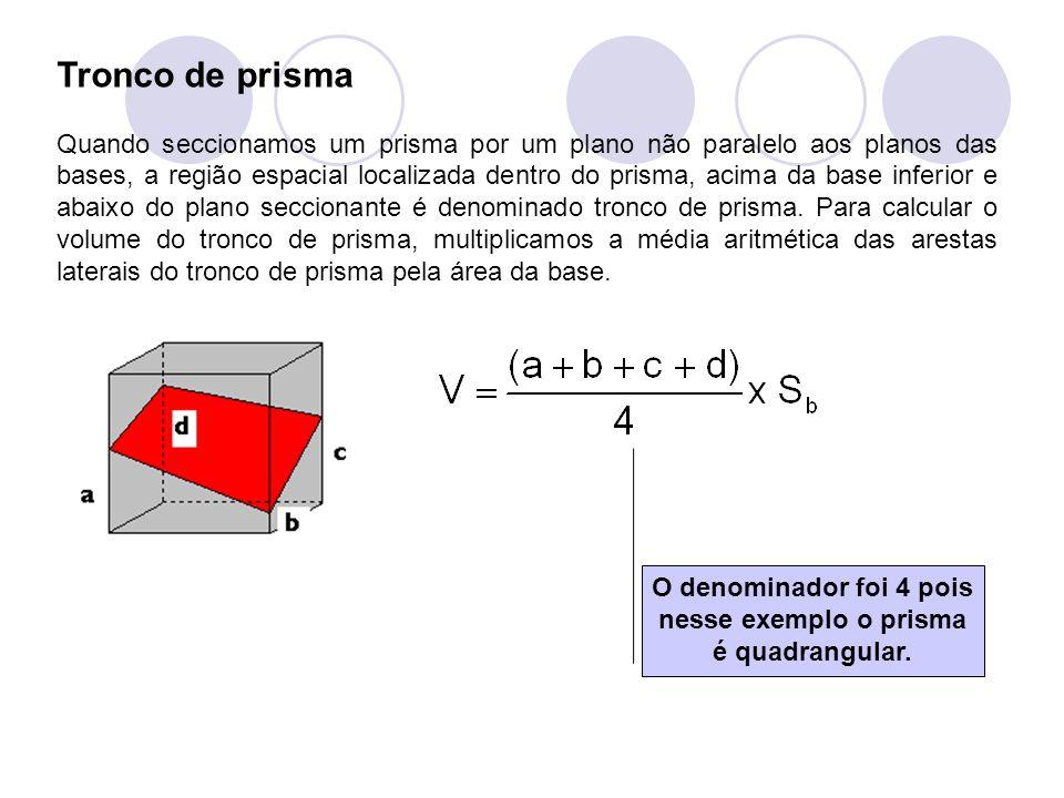 O denominador foi 4 pois nesse exemplo o prisma é quadrangular.