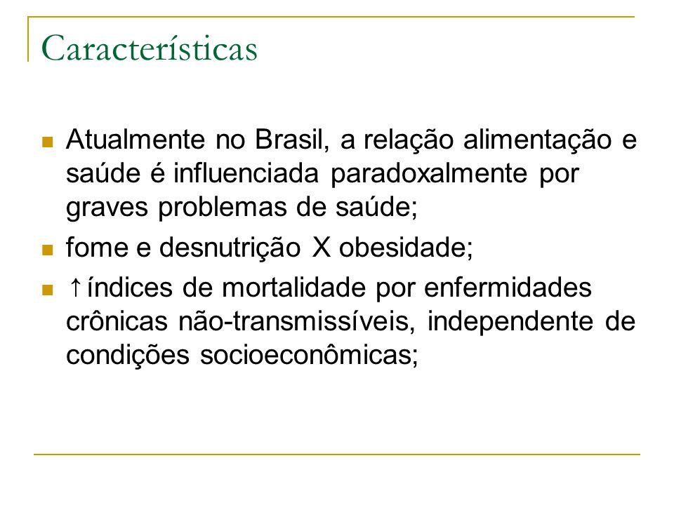 Características Atualmente no Brasil, a relação alimentação e saúde é influenciada paradoxalmente por graves problemas de saúde;
