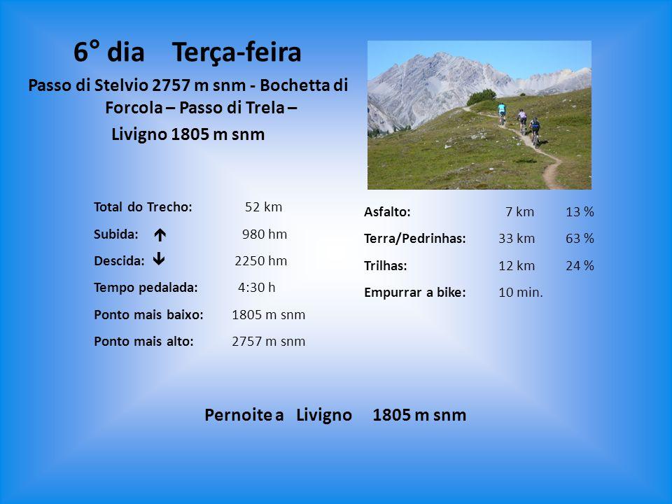 6° dia Terça-feira Passo di Stelvio 2757 m snm - Bochetta di Forcola – Passo di Trela – Livigno 1805 m snm.