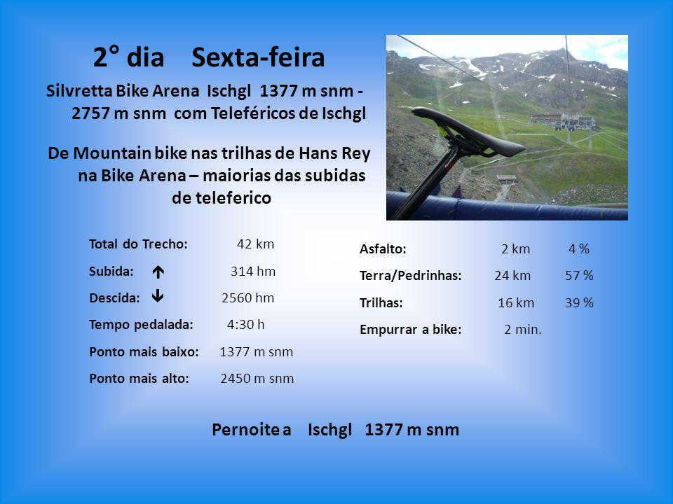 2° dia Sexta-feira Silvretta Bike Arena Ischgl 1377 m snm - 2757 m snm com Teleféricos de Ischgl.