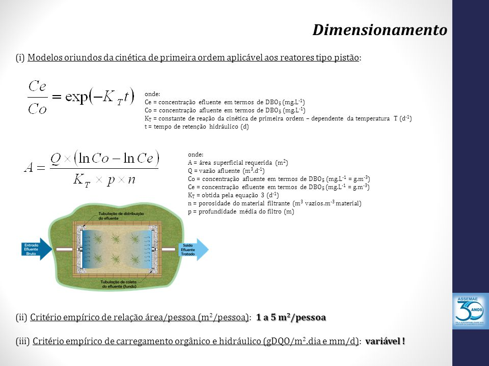 Dimensionamento (i) Modelos oriundos da cinética de primeira ordem aplicável aos reatores tipo pistão: