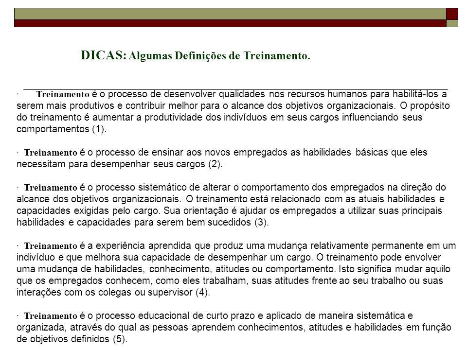 DICAS: Algumas Definições de Treinamento.