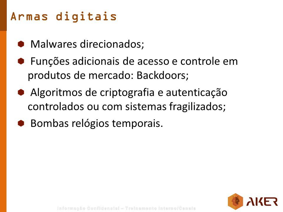 Armas digitais Malwares direcionados;