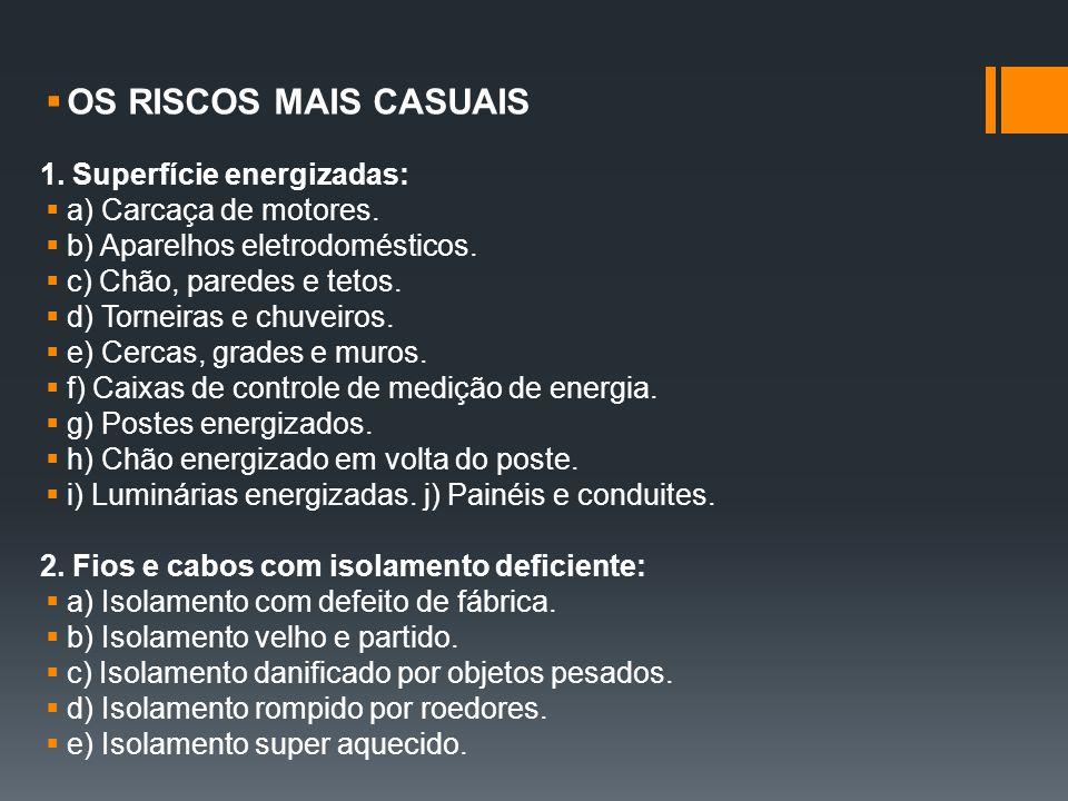 OS RISCOS MAIS CASUAIS 1. Superfície energizadas: