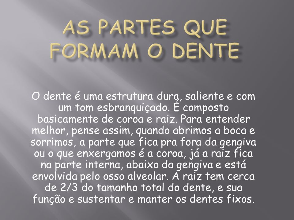 AS PARTES QUE FORMAM O DENTE