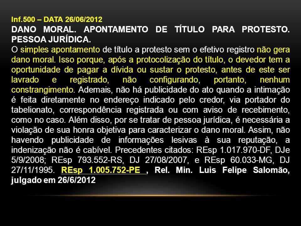 DANO MORAL. APONTAMENTO DE TÍTULO PARA PROTESTO. PESSOA JURÍDICA.