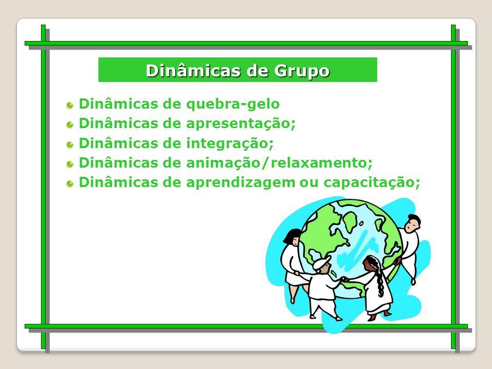Dinâmicas de Grupo Dinâmicas de quebra-gelo Dinâmicas de apresentação;