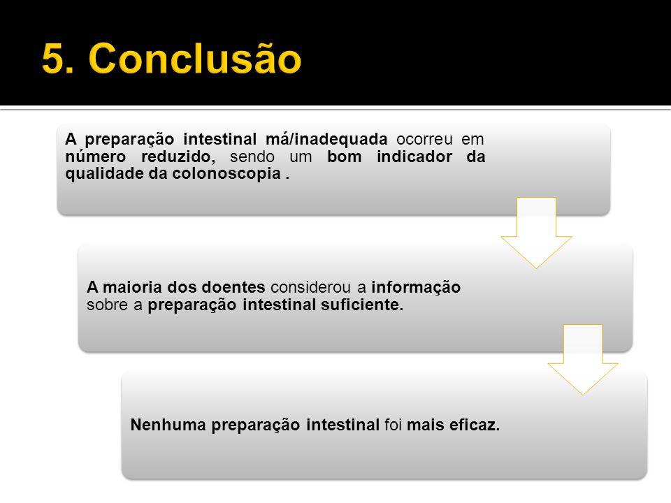5. Conclusão A preparação intestinal má/inadequada ocorreu em número reduzido, sendo um bom indicador da qualidade da colonoscopia .