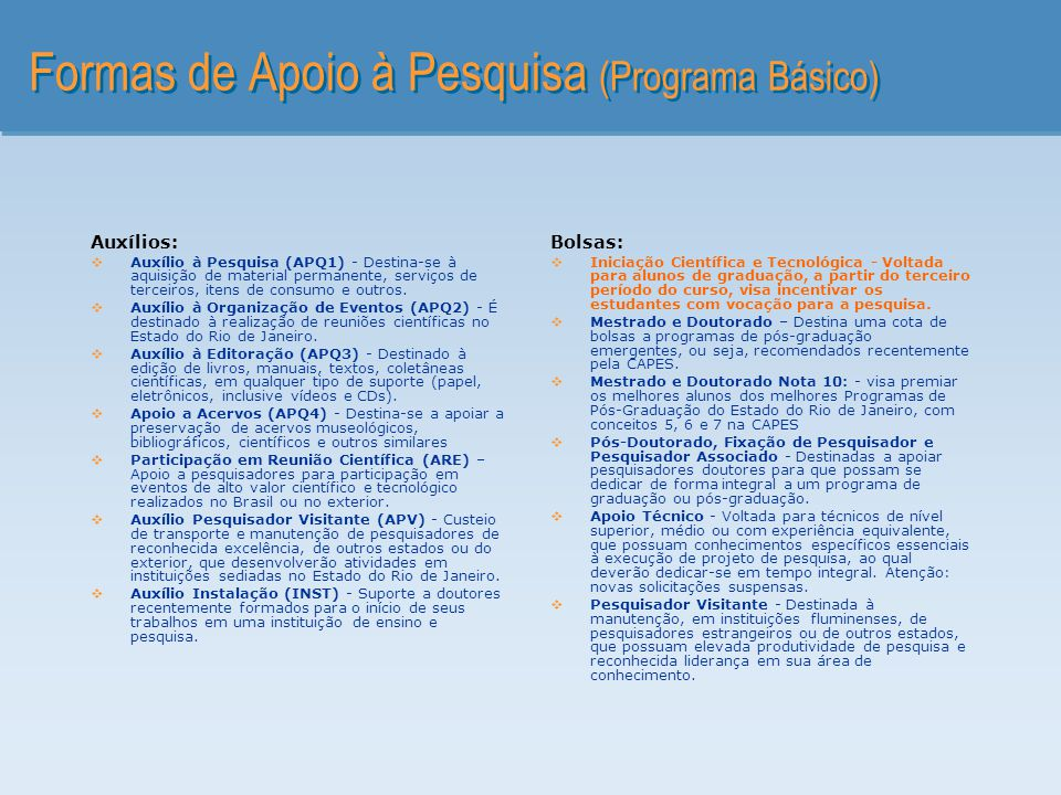 Formas de Apoio à Pesquisa (Programa Básico)