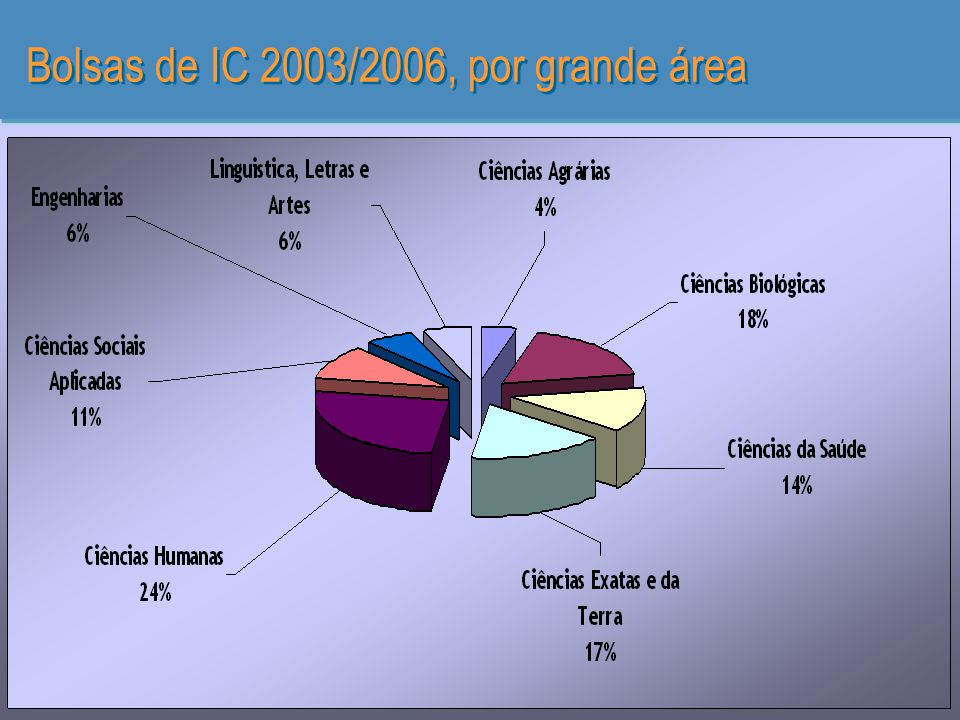 Bolsas de IC 2003/2006, por grande área