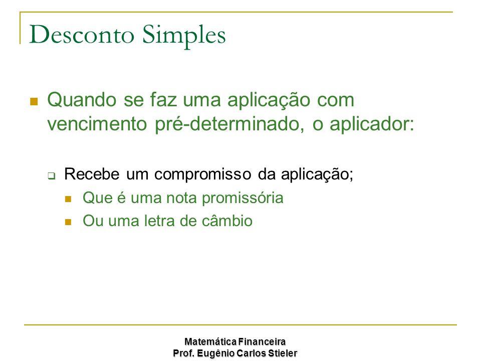 Desconto Simples Quando se faz uma aplicação com vencimento pré-determinado, o aplicador: Recebe um compromisso da aplicação;