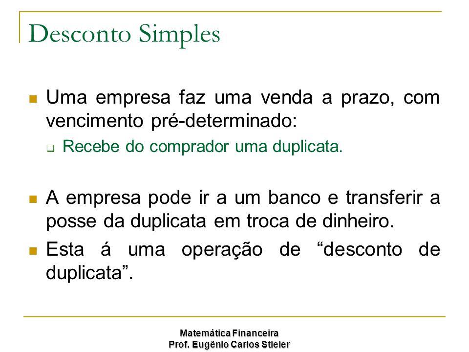 Desconto Simples Uma empresa faz uma venda a prazo, com vencimento pré-determinado: Recebe do comprador uma duplicata.