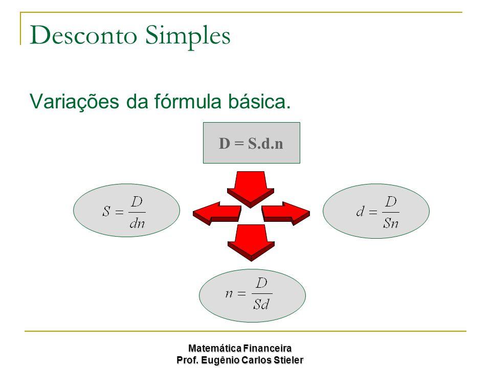 Desconto Simples Variações da fórmula básica. D = S.d.n