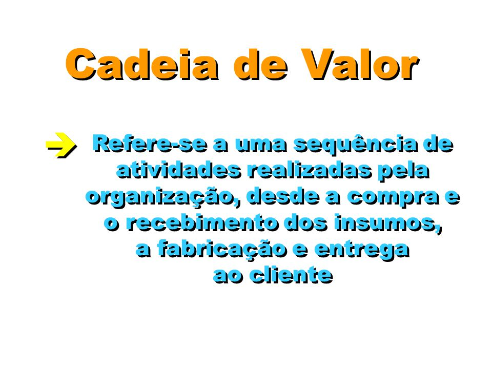 Cadeia de Valor  Refere-se a uma sequência de
