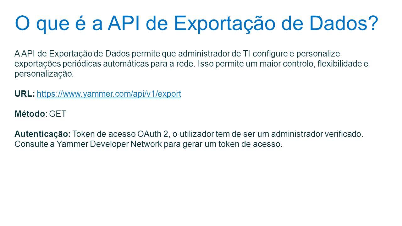 O que é a API de Exportação de Dados