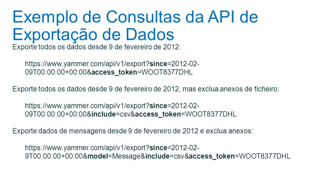 Exemplo de Consultas da API de Exportação de Dados