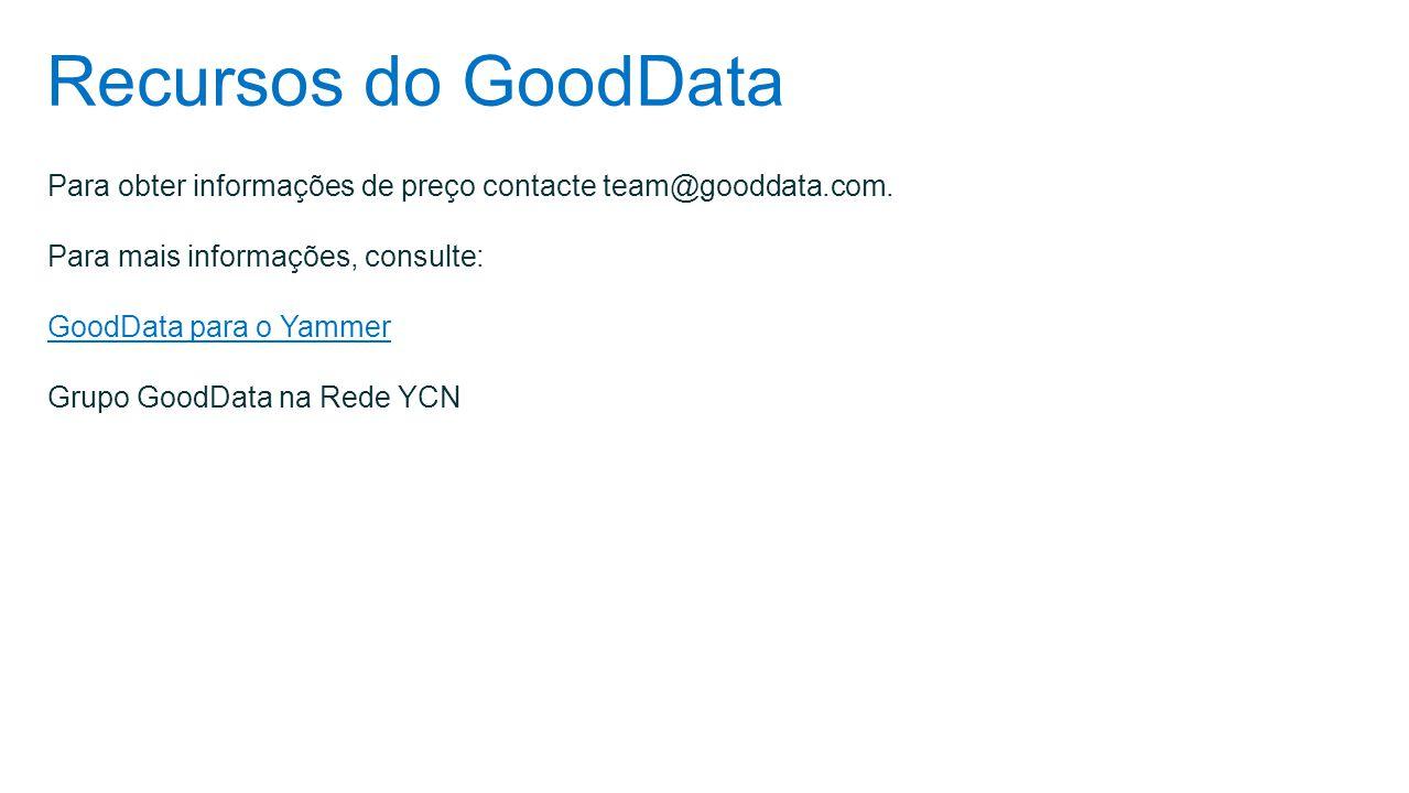 Recursos do GoodData Para obter informações de preço contacte team@gooddata.com. Para mais informações, consulte: