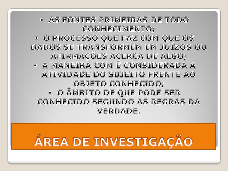 ÁREA DE INVESTIGAÇÃO AS FONTES PRIMEIRAS DE TODO CONHECIMENTO;