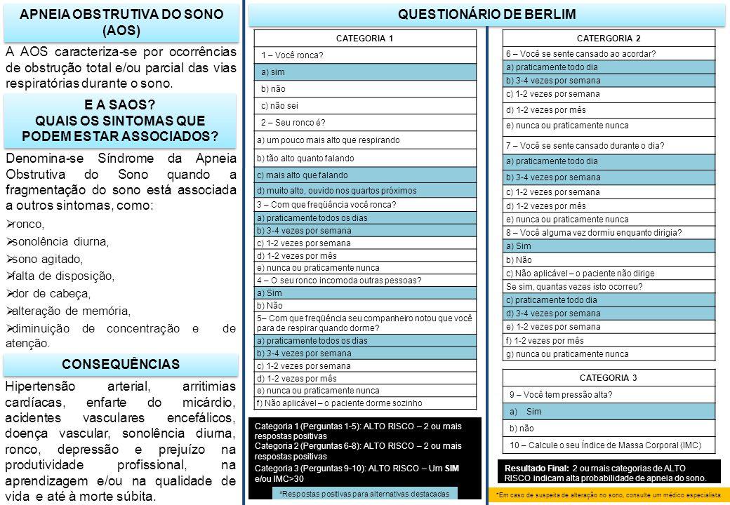 APNEIA OBSTRUTIVA DO SONO (AOS) QUESTIONÁRIO DE BERLIM