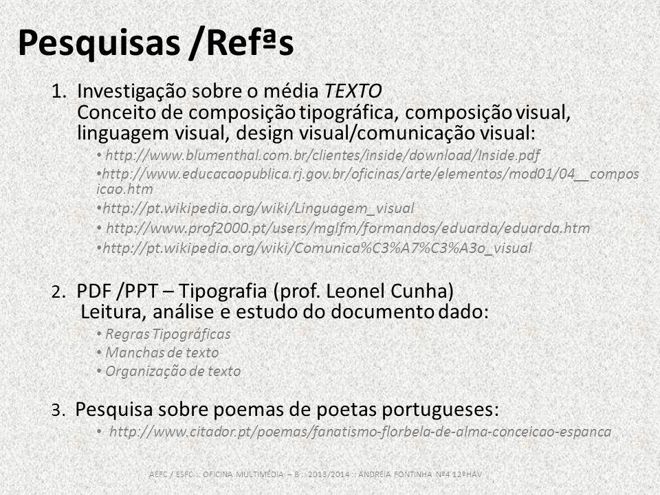 Pesquisas /Refªs