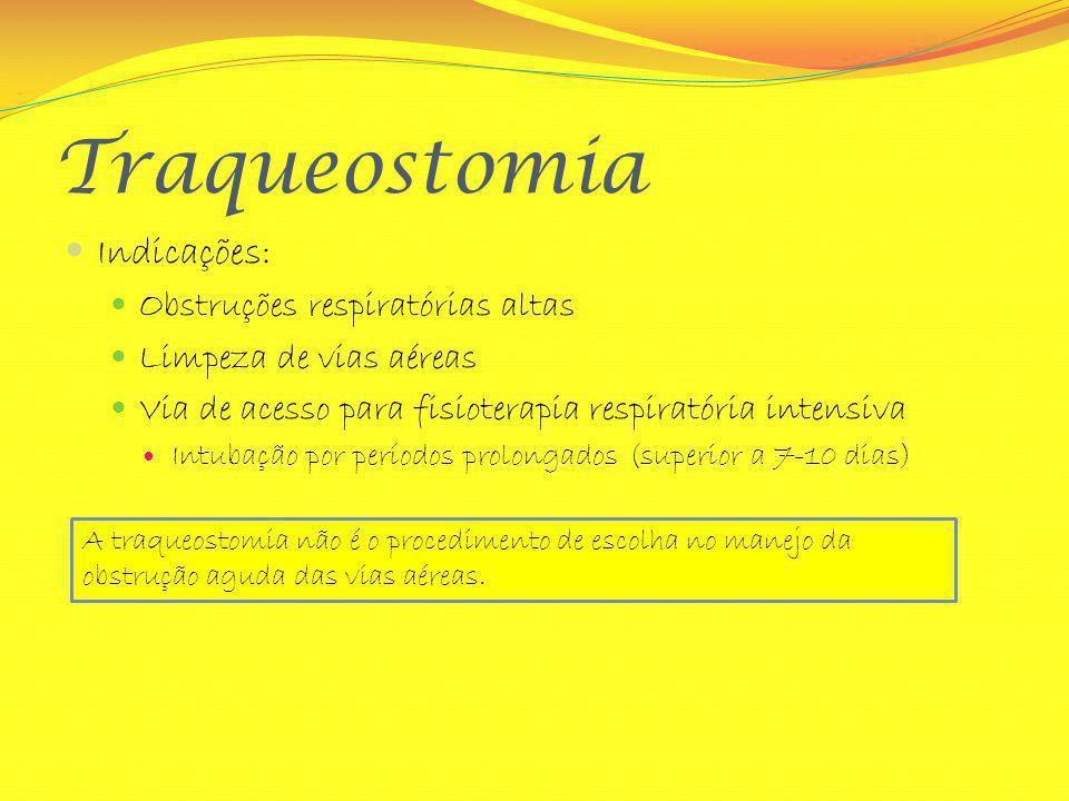 Traqueostomia Indicações: Obstruções respiratórias altas